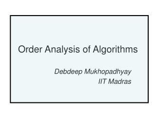 Order Analysis of Algorithms
