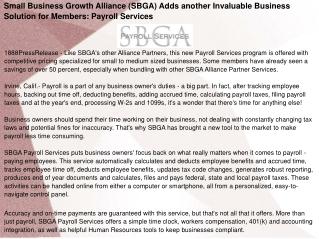 Small Business Growth Alliance (SBGA)