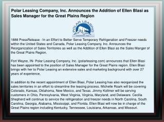 Polar Leasing Company, Inc. Announces the Addition