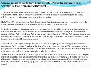 abram jimenez of castle park urges parents to consider extra