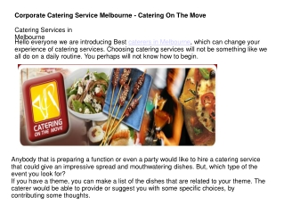 Corporate Catering Service Melbourne - Catering On The Move