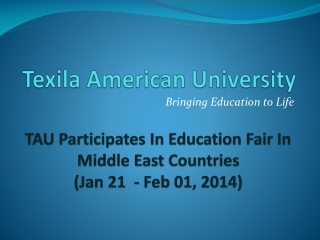 Education Fair Middle East - Texila American University