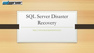 SQL Disaster Recovery
