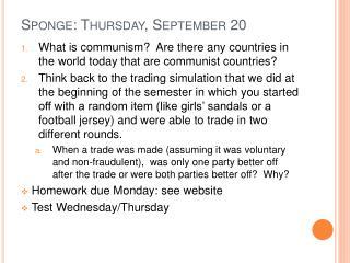 Sponge: Thursday, September 20