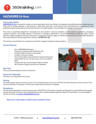HAZWOPER 24 hour Training