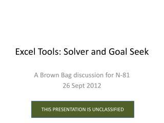 Excel Tools: Solver and Goal Seek