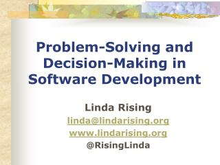 Problem-Solving and Decision-Making in Software Development