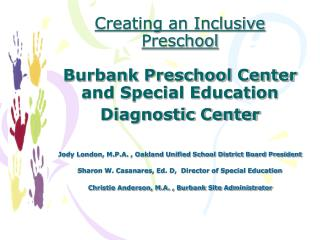 Creating an Inclusive Preschool   Burbank Preschool Center and Special Education Diagnostic Center