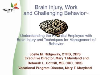 Brain Injury, Work                                and Challenging Behavior    Understanding the Potential Employee with
