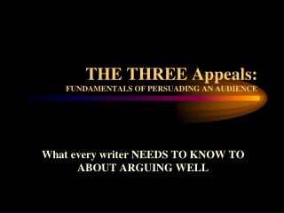 THE THREE Appeals: FUNDAMENTALS OF PERSUADING AN AUDIENCE