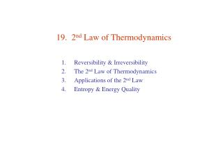 19.  2nd Law of Thermodynamics