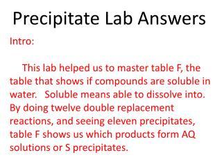 Precipitate Lab Answers