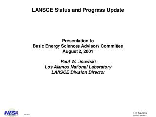 LANSCE Status and Progress Update