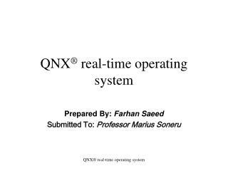 QNX  real-time operating system