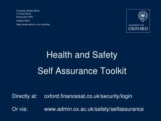 Health and Safety  Self Assurance Toolkit