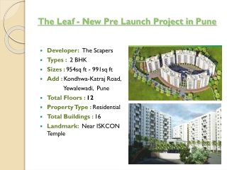 The Leaf New Pre Launch Project at Katraj-Kondhwa Road Pune