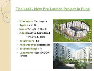 The Leaf New Pre Launch Project at Katraj-Kondhwa Road Pune