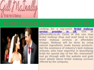 Bridal makeup service provider in UK