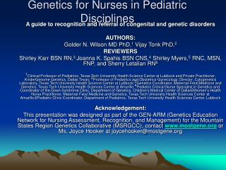 genetics for nurses in pediatric disciplines