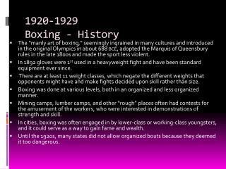 1920-1929  Boxing - History