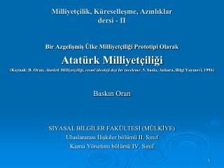 Milliyet ilik, K resellesme, Azinliklar dersi - II