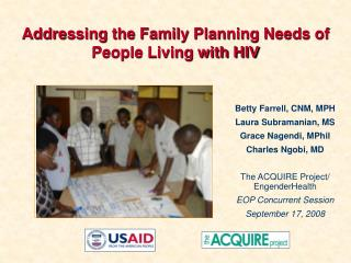 addressing the family planning needs of people living with hiv