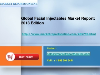 Global Report- Facial Injectables Industry (2013 Edition)