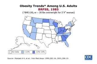 Obesity Trends Among U.S. Adults BRFSS, 1985