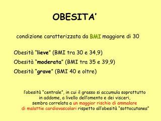 Condizione caratterizzata da BMI maggiore di 30
