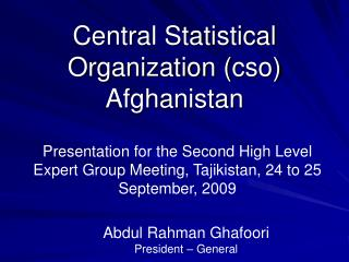 Central Statistical Organization cso  Afghanistan