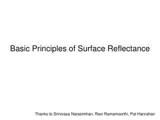 Basic Principles of Surface Reflectance