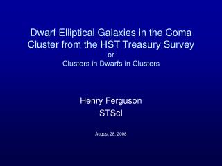 Dwarf Elliptical Galaxies in the Coma Cluster from the HST Treasury Survey or Clusters in Dwarfs in Clusters