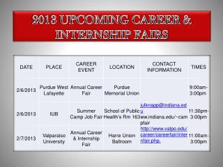 2013 UPCOMING CAREER  INTERNSHIP FAIRS