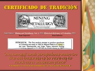 Certificado  de  tradici n