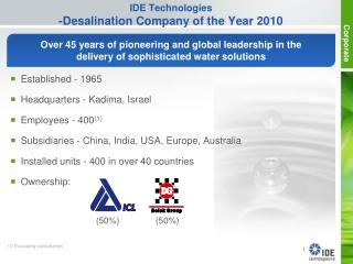 IDE Technologies -Desalination Company of the Year 2010