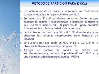 METODO DE PARTICION PARA E COLI