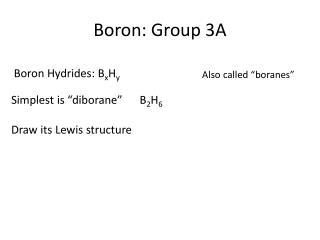 Boron: Group 3A