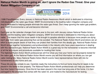 National Radon Month is going on, don't ignore the Radon Gas