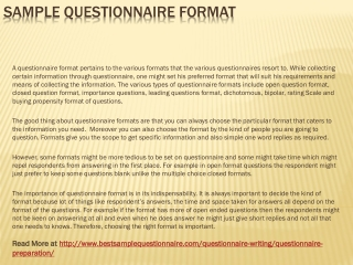 Sample Questionnaire Format