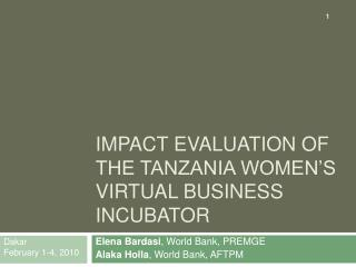 Impact evaluation of the Tanzania women s virtual business incubator