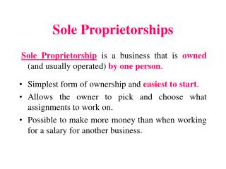 Sole Proprietorships