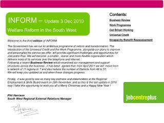 INFORM   Update 3 Dec 2010  Welfare Reform in the South West
