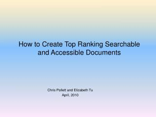 How to Create Top Ranking Searchable and Accessible Documents