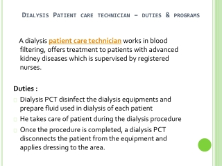 Dialysis Patient Care Technician Training Program