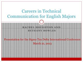 Careers in Technical Communication for English Majors