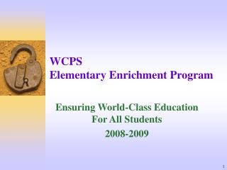 WCPS Elementary Enrichment Program