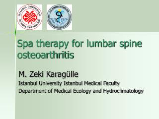 Spa therapy for lumbar spine osteoarthritis