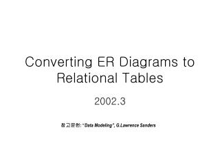 Converting ER Diagrams to Relational Tables