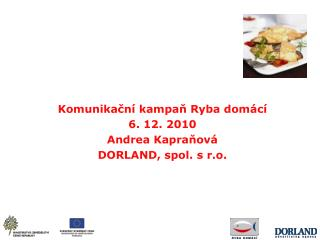 Komunikacn  kampan Ryba dom c  6. 12. 2010 Andrea Kapranov   DORLAND, spol. s r.o.