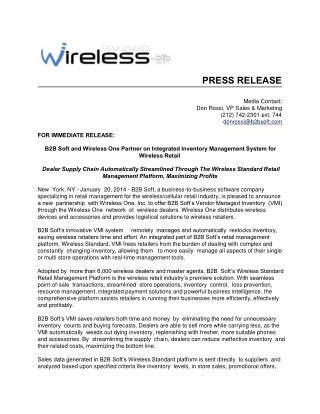 B2B Soft and Wireless One Partner on Integrated Inventory Ma
